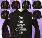 Black Hoodie KEEP CALM and CANTER ON Horse Riding mens womens Pony Ride hoody