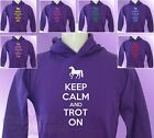 Purple Hoodie KEEP CALM and TROT ON Horse Riding girls womens Pony Ride hoody