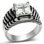 Square Cut Clear Stone Silver Stainless Steel Unisex Ring
