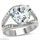 Heart Shape Clear Stones Silver Stainless Steel Ladies Ring New