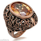 Large Champagne Stone Antique Copper EP Ladies Fashion Ring