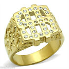 Mens 33 Stones Dolllar Logo Yellow Gold Plated Ring
