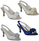 LADIES SATIN DIAMANTE WOMENS KITTEN PEEPTOE BRIDAL WEDDING PROM PARTY SHOES 3-8