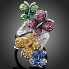 Arinna Austrian Crystals Butterfly white Gold GP cocktail finger Ring