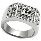 Mens 5MM Clear Round Crystal Silver Stainless Steel Mens Pave Ring