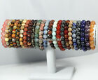"8mm Nature Natural Stone Gemstone Round Bead Stretchy Bracelets 7""/7.5""/8""/8.5"""