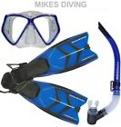 TYPHOON TM2 Diving Mask Snorkel fin flippers SET HYDROSPLIT BLUE