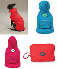 Stowaway Raincoat Dog rain coat jacket w hood polyester pet apparel XXS XS S S/M
