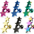 Surgical Steel IP Three Stars Tragus / Cartilage Piercing Stud - Choose Colour