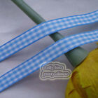 50 Yds/Roll Blue Scotish Gingham Ribbons 6mm,10mm,15mm,18mm,24mm Sewing E1-7