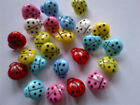6 COLOURED LADYBIRD BUTTONS LARGE 16mm PLASTIC SHANK HOLE RESIN SEWING CRAFTS