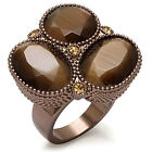 Ladies Triple Brown Le Chocolate Gold Plated Fashion Ring