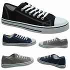 Mens Plimsolls Canvas Casual Shoes Boys Trainers Pumps Lace Up Plims Size 6-12