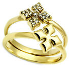Ladies Double Cross Set Gold EP Crystal Stones Ring