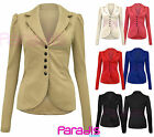 NEW LADIES 5 BUTTON UP FRONT PONTE SMART OFFICE WOMENS BLAZER JACKET COAT 8-14