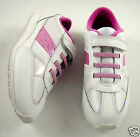 New Clarks Girls Leather Trainers / Sports Shoes White & Pink Velcro Fastening