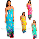 P68 -S M L XL- Blue,Pink,Green,Yellow Floral Strapless,Tube Maxi Long SunDress