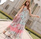 L195 Women V neck Flora Lotus Leaf Flowers Bohemia Maxi Long Dress XS S M L