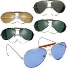 Aviator Sunglasses Air Force Style Chrome Frames With Case