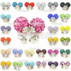 Disco Ball/Beads Pave Crystal Rhinestones Ear Stud Earrings Colourful Wholesale