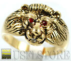 Lion Head Ruby Red Eyes Gold EP Mens Ring New