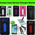 LG Optimus Showtime Straight Talk Armor Case Cover Charger Screen Stylus Bundle