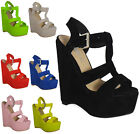 SALE WOMENS LADIES ANKLE FAUX PLATFORM STRAP HIGH HEEL WEDGE SHOES SIZES 3-8 UK