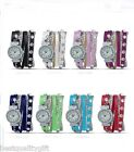 NEW-MONTRES CARLO WRAP AROUND STUDDED LEATHER+CHAIN,CRYSTALS MOP DIAL WATCH