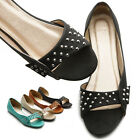 ollio Womens Ballet Flats Shoes Studs Slip-on Multi Colored Fashion Sandals