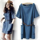 New Popular Women's Wild loose big yards Denim Dress With Belts,Free Ship