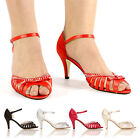 NEW WOMEN ANKLE STRAP SANDALS HIGH HEEL DIAMANTE SHOES SIZE 3-8