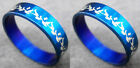 R064S fashion men/women flower blue stainless steel ring you pick size Hot New