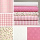 5 Fat Quarters or 1 Yard 100% Cotton Fabric Pink Floral Dot Check Sewing M-080