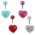 Ferido Crystal Heart Belly Bar / Navel Ring - Choose Colour