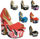 NEW WOMENS LADIES STRAPPY PLATFORM PEEPTOE BUCKLE CUTOUT WEDGES HEELS SHOES SIZE