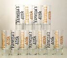 Personalised Shot Glasses 18th 21st 30th 40th 50th etc Glitter Birthday Gifts