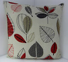 SINGLE PILLOW COVERS 60s STYLE RED BROWN BEIGE LEAF DESIGN CUSHION COVERS