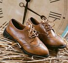Womens Ladies Vintage Retro Lace Up Oxford Brogue Shoes Black/Brown 101