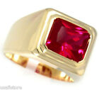 Mens Solitaire Ruby Red Stone 18kt Gold Plated Ring