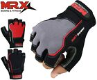 MRX Weight Lifting Gloves Fitness Gym Training Glove Straps Leather Grey / Black