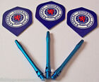 Rangers Darts Flights and Blue Aluminium Stems
