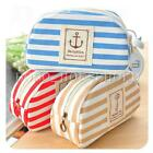 New Stripe Navy Style Cosmetic Makeup Bag Pencil Case Storage Pouch Purse Canvas