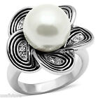 Ladies 12MM White Pearl Silver Rhodium EP Ring