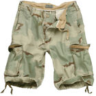 SURPLUS ARMY COMBAT CARGO MENS VINTAGE SHORTS WASHED COTTON 3-COLOUR DESERT CAMO