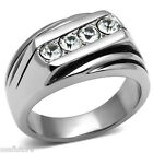 Mens Four Top Grade Crystal Stone Silver Stainless Steel Ring