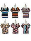 Jon & Anna Womens Blouse Shirt Top Striped Short Sleeve Scoopneck Colorful Sexy