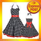 RK57 Rockabilly  Polka Dot Halter Work Dress Black 40s 50s Retro Emo Pin Up Plus