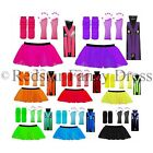 NEON TUTU SKIRT SET & BRACES - FANCY DRESS TUTU UV HEN PARTY LEG WARMERS GLOVES