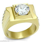 10 mm Round Cut CZ Stone Gold EP Mens Stainless Steel Ring