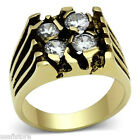 Mens Four Simulated Diamond Gold Plated Stainless Steel Ring
